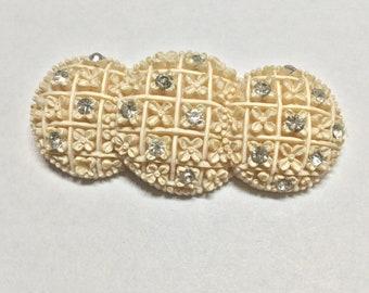 Art Deco Celluloid Rhinestone Brooch Pin