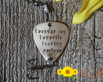Forever My Favorite Fishing Partner - Hand Stamped Fishing Lure Gift - Engagement or Wedding Gift - Fishing Lover Present - Angler Gift