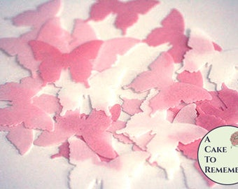 Birthday cake topper pink edible butterflies. 24 wafer paper butterflies for cake decorating, cupcake decorating and cookie decorating