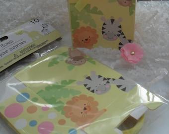 10 Oh Baby Favor Boxes /Jungle  Theme Treat Boxes/Animal Sarfari Theme Treat Boxes