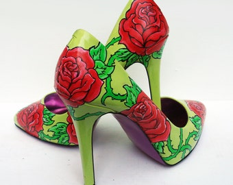 Hand painted heels - Rose and Thorns, customize your shoes - Kezbirdie