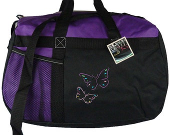 Pretty Butterflies Gemline Sequel Sport Bag Overnight Sleepover Travel Duffel + Free Name Embroidered