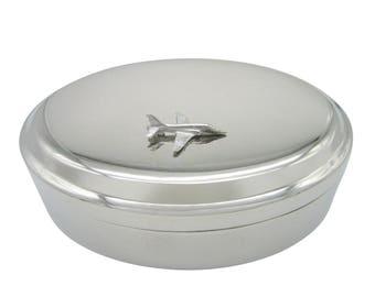 Silver Toned Hawk Plane Pendant Oval Trinket Jewelry Box