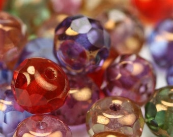 Czech Glass Beads Fire Polished Gemstone Donuts 4x6mm Copper Multicolor (25) CZF346