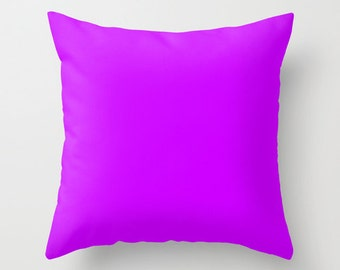 Vivid Orchid Pillow, #CC00FF, Solid Purple Pillow, Purple Pillow, Minimalist Decor, Modern Decor, Modern Pillow, Throw Pillow