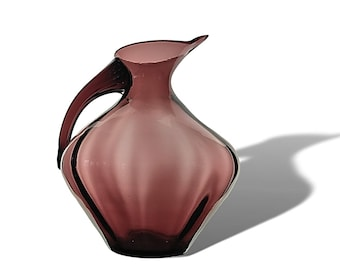 Massive BLENKO Winslow Anderson #963 Optic Glass Pitcher in AMETHYST--MINT & Ships Free to the U S.