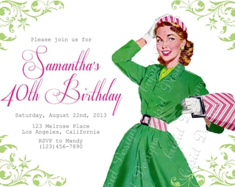 50th birthday invitation. 60th Surprise birthday invite. 70th, 40th, printable personalized or printed.