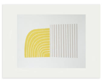 Mid century modern, fifties style abstract screenprint. Original, handmade fine art print, yellow, grey by Emma Lawrenson