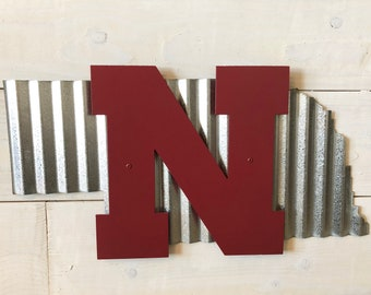 State of Nebraska with Huskers N Corrugated Metal Wall Decor