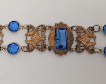 Vintage Czech Brass Art Nouveau Blue Glass Open Back Crystal Bracelet
