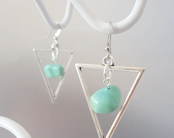 Gorgeous Turquoise Gemstones and Silver Triangle Earring's