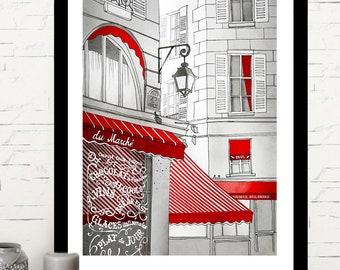 Paris Print/Cafe Paris/Fine art/illustration