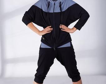 Organic Yoga Clothing, Black Yoga Top, Workout Jacket, Plus Size Workout Top, Womens Hoodie, Yoga Hoodie, Yoga Clothes, Yoga Wear