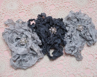15 yards of Pretty Ribbons-WEDDING-Seam Binding-Crinkled-ATC-Supplies