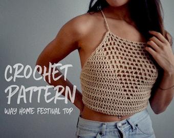 Crochet Pattern | Festival Crop Top | Way Home | Crochet Lace Up Top