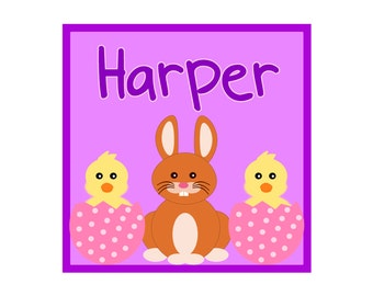 Iron on Transfer DIY - Childrens Easter Iron On - Custom Personalized Name Iron on for Easter - Girl's Easter Bunny & Chick 002