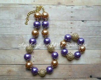Purple and Gold Chunky Necklace, Purple Baby Necklace , Purple and Gold Toddler Necklace, Purple and Gold,  Purple and Gold Necklace