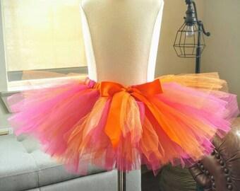 Girl orange and pink tutu Halloween tutu first birthday Cake Smash fuchsia and orange tutu  Girl Cake Smash Tutu baby tutu