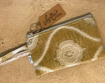 Wristlet Bag - Mustard and Silver Tapestry