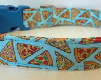 "Pizza Dog Collar-Cheese Dog Collar-Food Dog Collar - Pizza on Turquoise - Boy/Girl Dog Collar-""Say Cheese""-Free Colored Buckles"