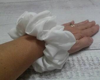 White chiffon scrunchie