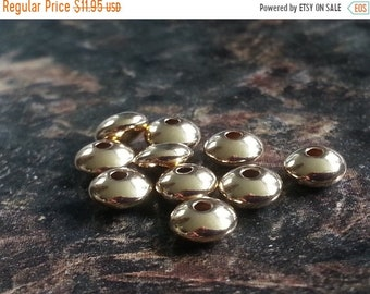 SAVE 20% 10 Pieces 14K Gold Filled 7mm Rondelle, Disk, Saucer Spacer Bead MADE In Usa