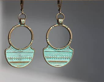 Turquoise Bohemian Jewelry Boho Earrings Bohemian Earrings Dangle Drop earrings Boho jewelry Verdigris Earrings Gypsy Earrings Gift for her