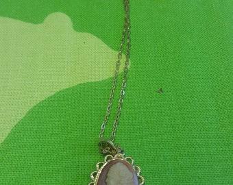 Vintage Antique Cameo Necklace Kitsch Chic Boho Spring Wardrobe Piece
