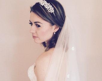 Swarovski Bridal Headband, Bridal Hairband, Pearl Headband