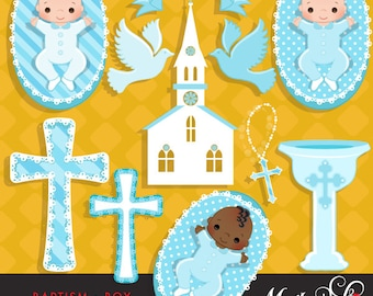 Baptism Baby Boy Clipart with cute babies, church, dove, rosary and cross graphics Graphics Instant Download Baptism Graphics.
