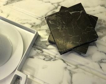 Black marble coasters