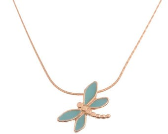 Gold Dragonfly  Necklace  ,Gold Dragonfly Pendant ,Turquoise Pendant,Necklace For Teens,Delicate Necklace,Hand Made Pendant,Simple Necklace