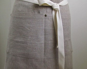 Linen Apron Half  Apron Woman European Linen  Rustic Tan Large Pocket
