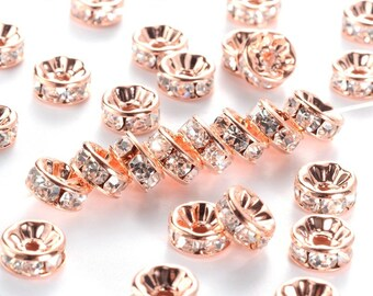 50 pcs Rose Gold Plated Clear Rhinestone Rondelle Spacer Beads - 8mm x 3.8mm - Grade AAA - Hole Size: 1.5mm - Crystal