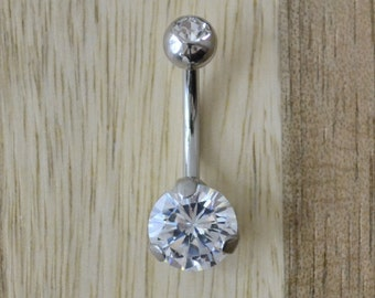 Clear Double Gem with Round Shape Single Prong Gem Belly Button Ring Navel Body Piercing Jewelry