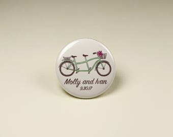 Bike Wedding Button Pins or Magnets, Bike Themed Wedding, Wedding Favors, Tandem Bike, Wedding Table Giveaways, Bicycle Magnets,