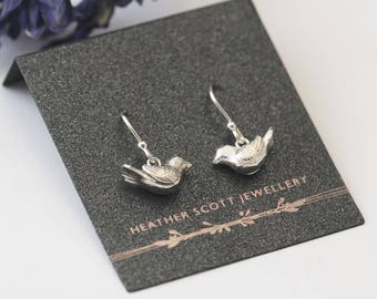 Silver Bird Earrings, bird jewellery, silver earrings, Uk seller