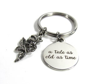 Beauty and the Beast - Disney Charm Key Chain  - A Tale as Old as Time
