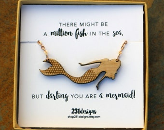 Wooden Mermaid Necklace - Laser Cut Wood Mermaid Pendant - You are a Mermaid - Girlfriend Gift - Wood Necklace - Stocking Stuffer