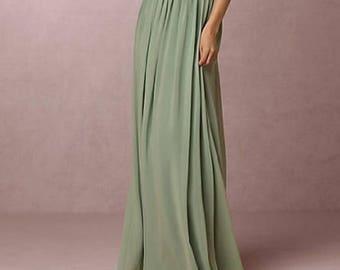 ANGELA SKIRT 38 colors bridal wedding skirt simple bridesmaids chiffon skirts bocho maxi skirt pleated lining flowy  cut skirt