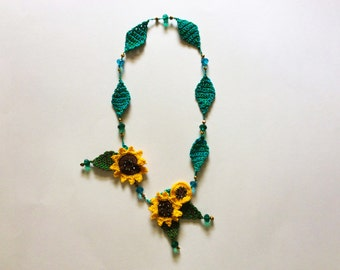 Hand Designed and Crocheted Sunflower Necklace with Beads