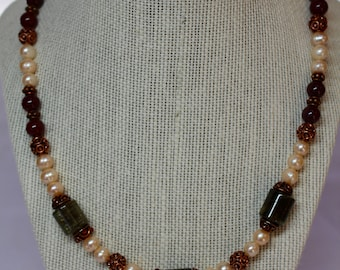 Jewelry Set: Green Tourmaline, Pearl, Carnelian, Copper Necklace with Matching Bracelet and Earrings