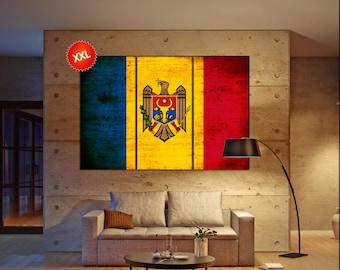 Moldova flag canvas wall art art print large  canvas wall art print Moldova flag country flag Wall Home office decor interior Office Decor
