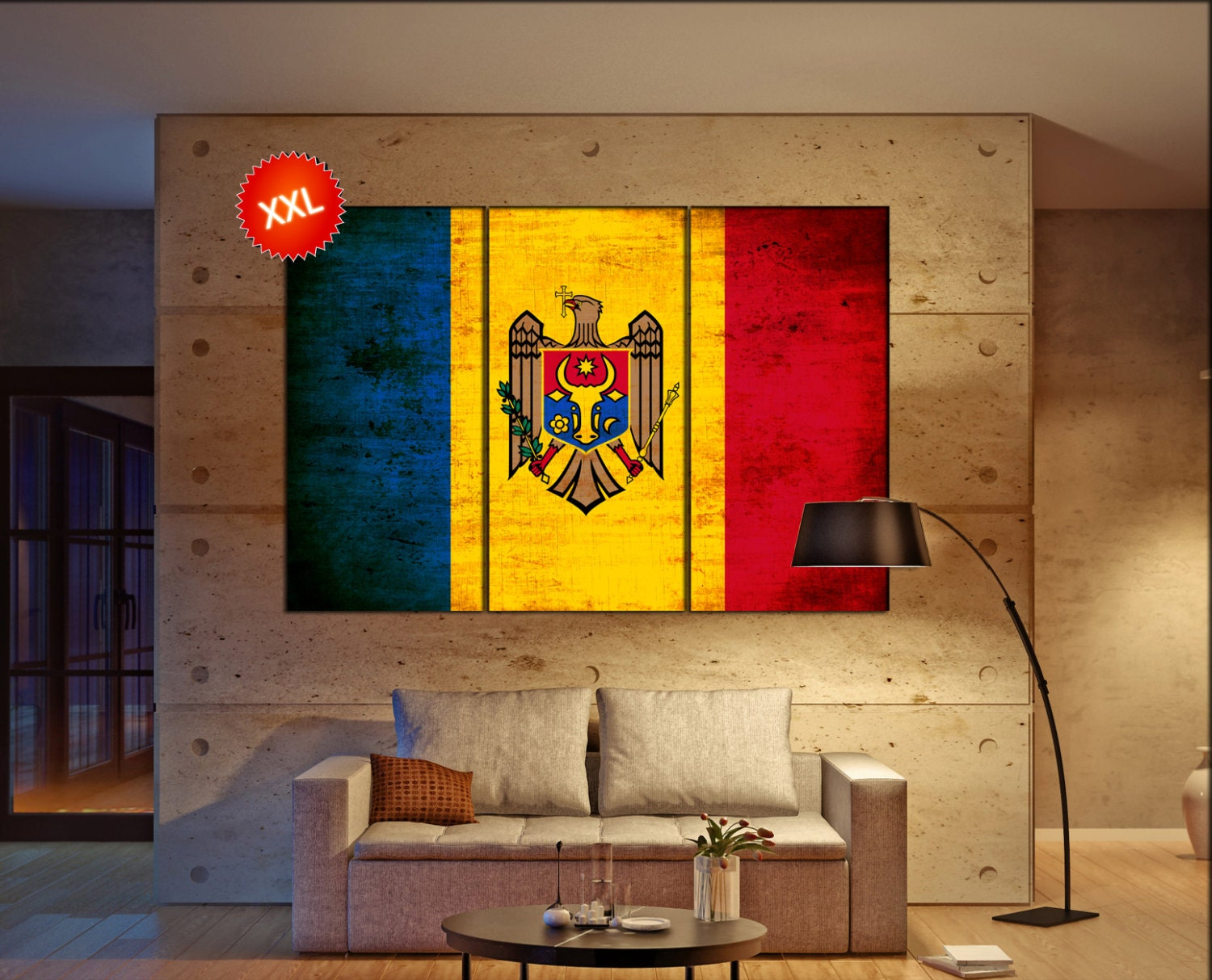Moldova flag canvas wall art art print large canvas wall art
