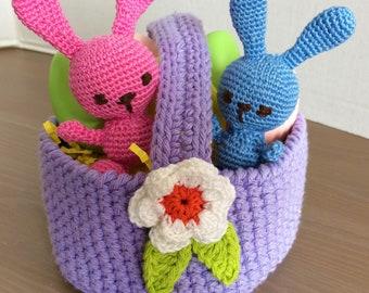 Handmade Crochet Easter Basket (Bunnies sold seperately)