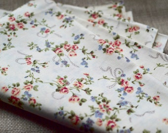 Cotton fabric, Floral fabric, Fabric, Patchwork fabric, Quilting fabric, Rose fabric, Rose print fabric, Ivory fabric, Small print fabric