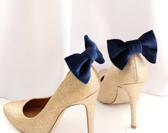 Dark blue shoe clips   Wedding shoe clips   Velvet bow clip   Bridal shoe clips   Bow shoe clips   Wedding accessories   Bridesmaids   Bride