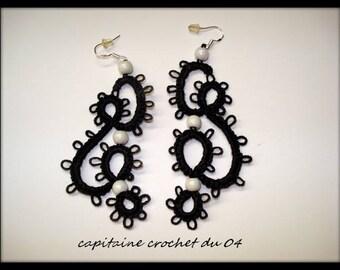 Earrings black woman/women jewelry/tatting lace jewelry / wedding ceremony/handmade jewelry