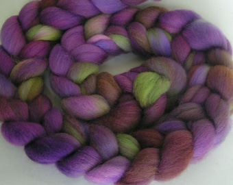 Roving Fiber Top Wool ELEANOR easy spin 4 oz FALKLAND Phatfiber Feature March Gorgeous Spin Felt Craft Wine Gold Purple