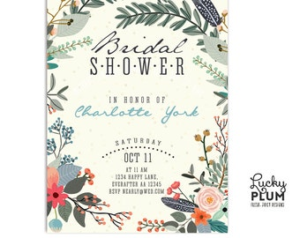 Rustic Bridal Shower Invitation / Floral Bridal Shower Invitation / Flower Bridal Shower Invitation / Bridal Shower Invitation / Digital